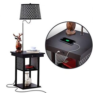 Brightech Madison - Narrow Nightstand with Built in Lamp, USB Port & Shelves for Bedrooms - Mid Century Modern End Table & Attached Floor Lamp for Living Rooms - Side Table & Reading Light - Black