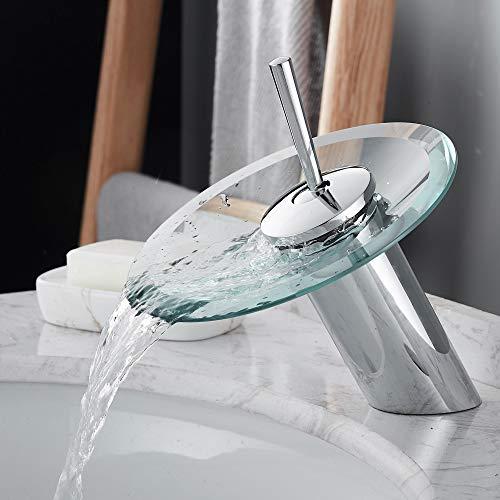 RODDEX Waterfall Bathroom Sink Faucet Solid Brass Glass One Handle Single Hole Basin Vanity Bathroom Faucet, Short, Blue+Chrome