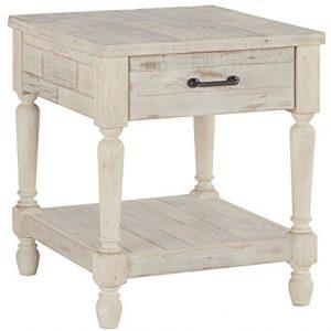 Signature Design by Ashley - Shawnalore Casual End Table w/ Storage Shelf Base, Whitewash Wood