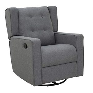 HOMCOM Polyester Linen Fabric Swivel Gliding Recliner Chair