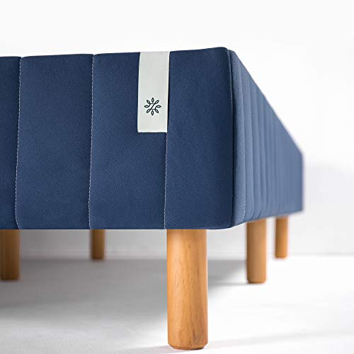 Zinus Justina Quick Snap Standing Mattress Foundation / Platform Bed / No Box Spring Needed / Navy, Queen