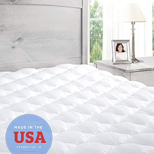 ExceptionalSheets Pillowtop MattressTopperwith Fitted Skirt - Extra Plush Pad Found inMarriottHotels - Made in The USA, King Size