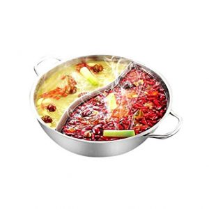 Yzakka Stainless Steel Shabu Hot Pot with Divider for Induction Cooktop Gas Stove, 34 cm