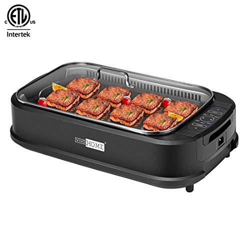 VIVOHOME Electric 1500W Smokeless Grill with Tempered Glass Lid and Removable Griddle Plates, LED Control Panel, ETL Listed