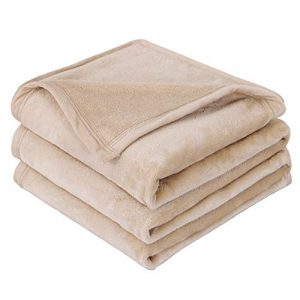 "EMME Fleece Blanket Queen Size Tan Lightweight Super Soft Microfiber Velvet Plush Throw Blanket 300GSM Bed Blanket Cozy Nap Luxury Couch Bed Warm Blanket (Tan, 90""x90"")"