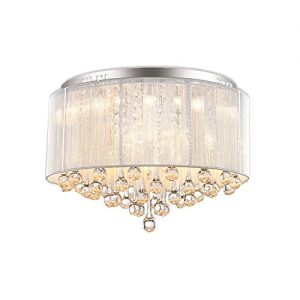 "DINGGU Flush Mounted Luxury Contemporary Drum Ceiling Chandelier Light Fixtures with Cylinder Lamp Shade for Bedroom W18"" H13"""