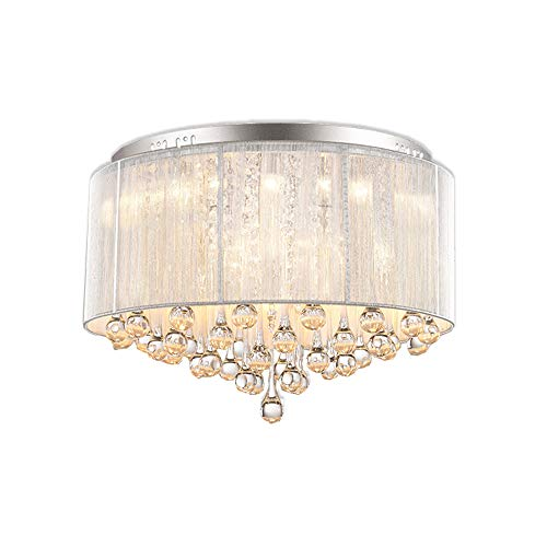 """DINGGU Flush Mounted Luxury Contemporary Drum Ceiling Chandelier Light Fixtures with Cylinder Lamp Shade for Bedroom W18"""" H13"""""""