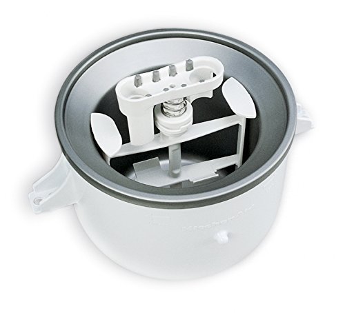 KitchenAid KICA0WH 2 Quart Ice Cream Maker Stand Mixer Attachment (Renewed)