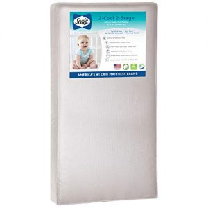 "Sealy Baby Select 2-Cool 2-Stage Dual Firmness Lightweight Waterproof Standard Toddler & Baby Crib Mattress, Soybean Foam-Core, 51.63"" x 27.25"""