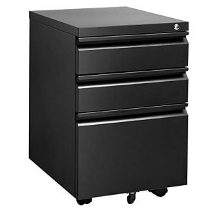 INVIE 3 Drawer File Cabinet with Lock, Metal Vertical Filing Cabinet Under Desk for Legal Letter File Anti-tilt Design Office Rolling File Cabinet(Black A)