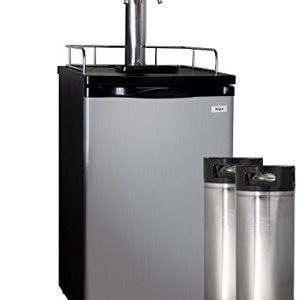 Kegco HBK199S-2K Full-Size Homebrew Kegerator Dual Faucet Keg Dispenser Stainless Steel with Two Ball Lock Kegs