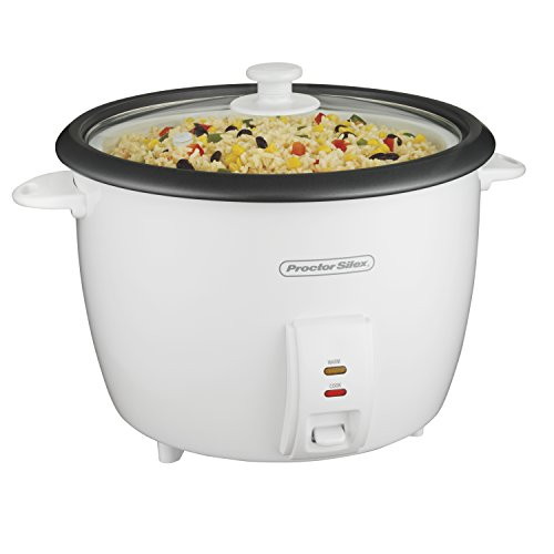 Proctor Silex Rice Cooker & Food Steamer, 30 Cups Cooked (15 Uncooked), White (37551)