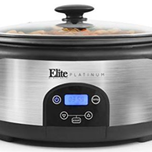 Maxi-Matic MST-610DT Digital Programmable Slow Cooker with Locking Lid, Nonstick Oval Pot Delay Timer, 3 Temperature, 8 Pre-Set Functions, 6 quart Capacity, Stainless Steel