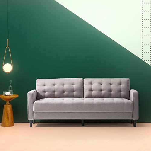 Zinus Benton Mid-Century Upholstered 76 Inch Sofa / Living Room Couch, Stone Grey Weave