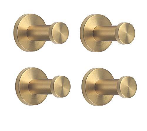 """NELXULAS Golden Brushed Stainless Steel Single Super Heavy Duty Wall Mount Hook, Bath Towel Hooks, Coat Hanger (2"""", 4 PCS)"""