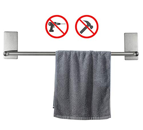 NearMoon Self Adhesive Bathroom Towel Bar- Stainless Steel Bath Wall Shelf Rack Hanging Towel Stick On Sticky Hanger Contemporary Style, NO Drilling (Brushed Nickel Finish, 16-Inch Towel Rack)