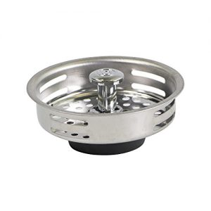 HIGHCRAFT FAUC9843 Stainless Steel Kitchen Sink Strainer Basket-Replacement for Standard Drains (3-1/2 Inch) Universal Style Rubber Stopper