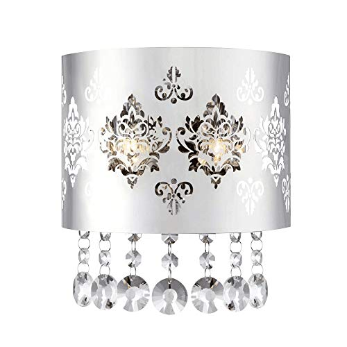 TULUCE Vintage Luxury K9 Crystal Wall Lights, Modern Stainless Steel Wall Lamp Sconce with Bulb Fixture for Restaurant Bedroom Living Room Coffee Shop Bar