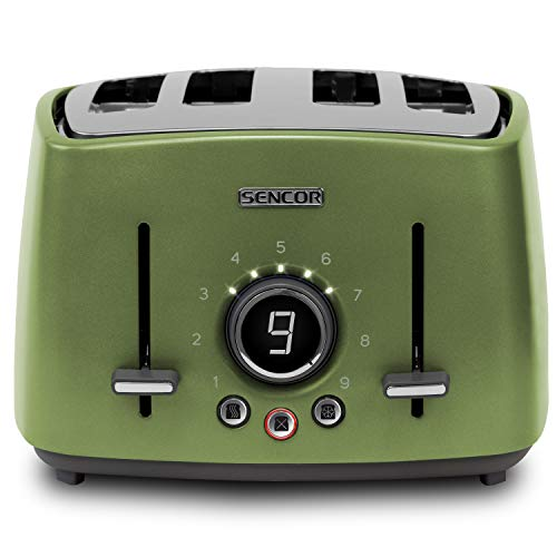 Sencor STS6070GG Premium Metallic 4-slot High Lift Toaster with Digital Button and Toaster Rack, Light Green