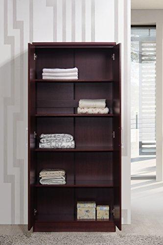 Hodedah 2 Door Wardrobe with Adjustable/Removable Shelves and Hanging Rod Two in a single cupboard, can be utilized as a wardrobe for hanging cloths, a storage cupboard with cabinets, or each