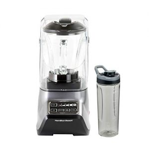 Hamilton Beach SoundShield 5-Speed Blender, 950 Watts, Ice Crush and Clean Programs, 52oz Glass + Portable Jars, Blends Food, Shakes and Smoothies (53602)
