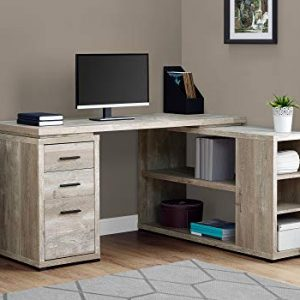 "Monarch Specialties L-Shaped Corner Left or Right Facing Home & Office Computer Desk, 60""L, Taupe Reclaimed"