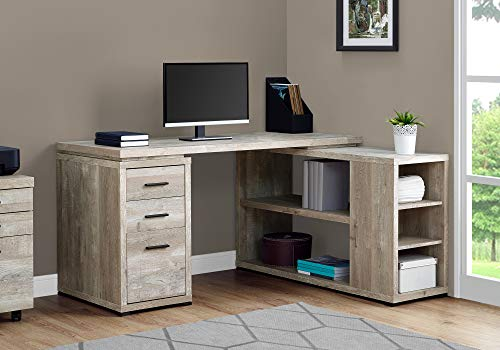 """Monarch Specialties L-Shaped Corner Left or Right Facing Home & Office Computer Desk, 60""""L, Taupe Reclaimed"""