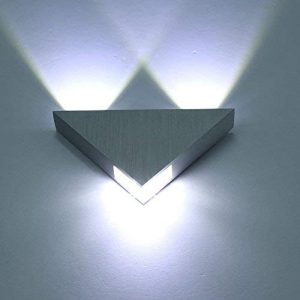 Lightess Modern LED Wall Sconces Triangle Mini Wall Lamp Designed 3W Cold White