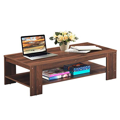 Giantex Coffee Table 2-Tier W/Storage Shelf, Industrial Rustic Rectangular Table for Living Room, Office Bedroom, Accent Furniture Tea Table (Walnut)