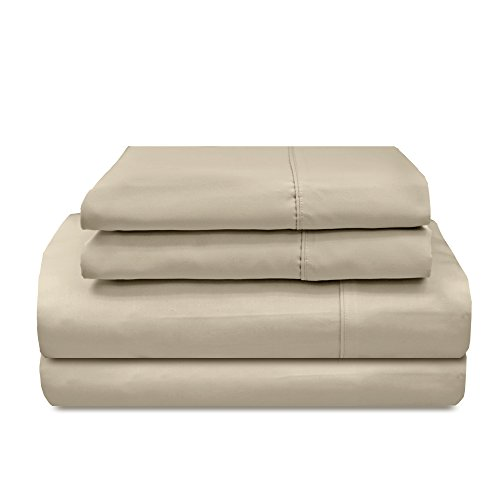 Veratex Supreme Sateen Collection 800 Thread Count 100% Egyptian Cotton Sateen Solid Designed 4 Piece Bedroom Sheet Set, Full Size, Stone