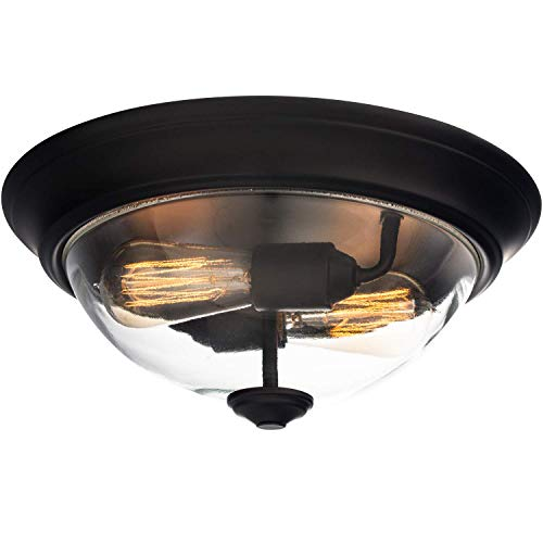 """Prominence Home 51379 Designer Series Flushmount Lighting, 13"""" Clear Glass, Low Profile, Bronze"""