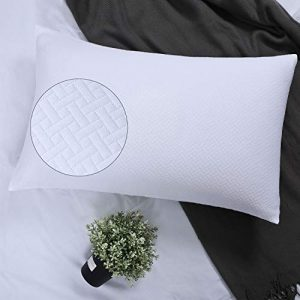YINFUNG White Pillow Shams King Quilted Pattern Matelasse Pillowcases Set of 2 Textured Weave Farmhouse Brocade Geo Jacquard Basket Embossed Geometric Thick Cotton 100 20×36