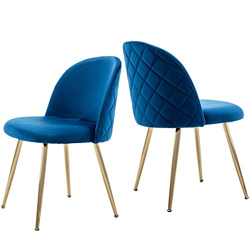 Tufted Dining Chairs, Velvet Upholstered Accent Chairs with Gold Plating Metal Legs Blue&Brass for Living Room/Dinning Room/Kitchen/Vanity/Patio, Set of 2 (Cobalt/Royal Blue)