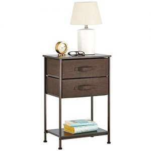 mDesign Night Stand/End Table Storage Tower - Sturdy Steel Frame, Wood Top, Easy Pull Fabric Bins - Organizer Unit for Bedroom, Hallway, Entryway, Closets - Textured Print - 2 Drawers, Shelf - Brown