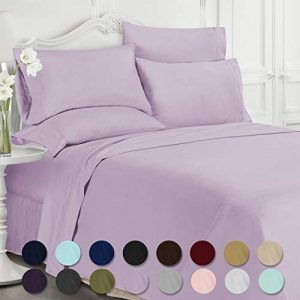 Swift Home Luxury Bedding Collection, Ultra-Soft Brushed Microfiber 6-Piece Bed Sheet Sets, Extremely Durable - Easy Fit - Wrinkle Resistant - (Includes 2 Bonus Pillowcases), Full, Lavender