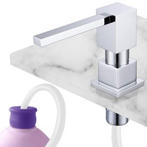 "Gagal Square Built in counter Soap Dispenser(Chrome) and Extension Tube Kit for Kitchen Sink, Complete Brass Pump with 40"" Silicone Tube Connect to Soap Bottle Directly, Say Goodbye to Refills"