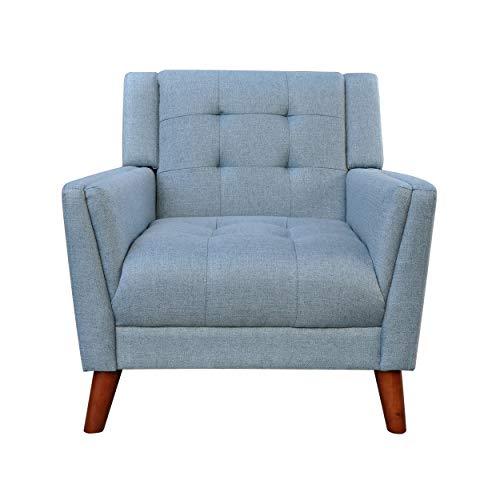 Christopher Knight Home 305539 Alisa Mid Century Modern Fabric Arm Chair, Blue, Walnut