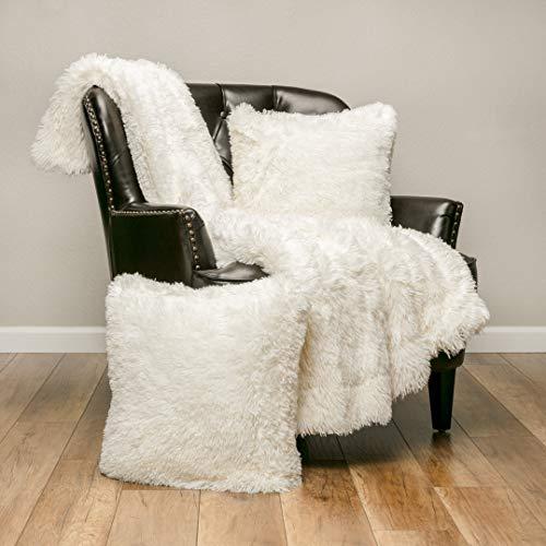Chanasya 3-Piece Shaggy Throw Blanket Pillow Cover Set - Chic Fuzzy Faux Fur Sherpa Throw (50x65 Inches) 2 Throw Pillow Covers (18x18 Inches) for Bed Couch - Ivory White