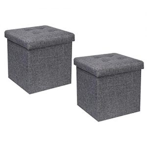 "B FSOBEIIALEO Storage Ottoman Cube, Toy Chest Folding Footrest Stool Seat, Linen Grey 12.6""X12.6""X12.6"" (2 Pack)"