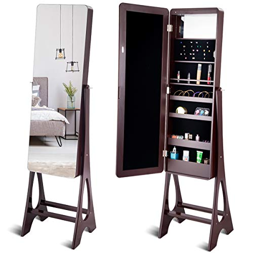 Giantex 15 LED Jewelry Armoire Cabinet with Full Length Mirror, Wooden Bedroom Bathroom Floor Mirror Stand, Jewelry Cabinet Storage with Inner Mirror, Ring Slots, Lipstick Holders (Brown)