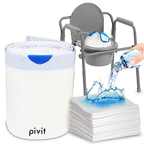 Pivit Commode Liners with Super Absorbent Pad | 24 Pack | Disposable Universal Replacement Bags | For Standard & Bariatric 3in1 Adult Bedside Commode Bucket Pails & Folding Portable Toilet Potty Chair