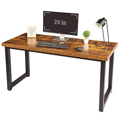 "TOPSKY 59"" Big Large Computer Office Desk 1.18"" Board + 0.7"" Frame Rustic Brown"