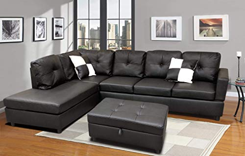 Sofa Sectional Sofa, L-Shape Faux Leather Sectional Sofa Couch Set with Chaise, Ottoman, 2 Toss Pillow Using for Living Room Furniture.(Black)