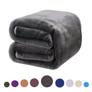 DREAMFLYLIFE Luxury Fleece Blanket Summer All Season Thick Blanket Super Soft Blanket Bed Warm Blanket Couch Blanket Dark Grey King-Size, 90x108 in