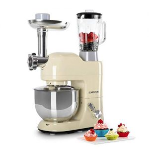 KLARSTEIN Lucia Morena • Multifunction Stand Mixer • Kitchen Machine • 650 Watts • 5.3 qt Bowl • 1.3 qt Mixing Glass • Meat Grinder • Pasta Maker • Blender • Adjustable Speed • Cream