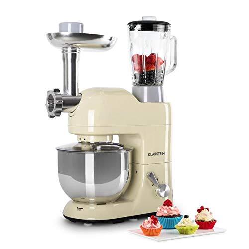 KLARSTEIN Lucia Morena • Multifunction Stand Mixer • Kitchen Machine • 650 Watts • 5.3 qt Bowl • 1.3 qt Mixing Glass • Meat Grinder • Pasta Maker • Blender • Adjustable Speed • Cream