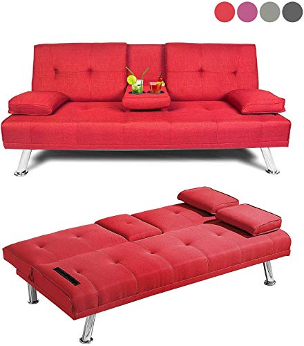 AnSettle 66'' Convertible Sofa Bed, Folding Upholstered Sleeper Sofa with Metal Legs and 2 Cup Holders Linen Blend Sofa Couch for Living Room, Bedroom, Office (Red)