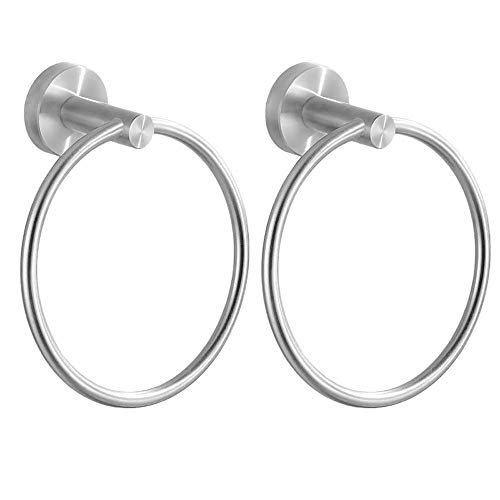 JOMAY Towel Ring for Bathroom, Round Silver Hand Towel Holder Wall Mounted, Kitchen Circular Towel Hanger Hardware, Rustproof Brushed SUS 304 Stainless Steel for Bath (2 Pack)