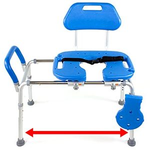 HydroGlyde Premium Heavy Duty Sliding Bathtub Transfer Bench and Shower Chair with Cut-Out SEAT. Adjustable Legs and Safety Belt. Quick Tool-Less Assembly (Blue)