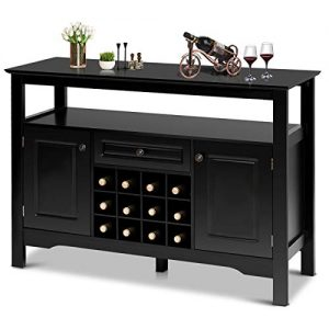 Giantex Buffet Server Wood Cabinet Sideboard Cupboard Table Kitchen Dining Room Restaurant Furniture Wine Cabinet with Wine Rack Open Shelf Drawer Cabinets, Black